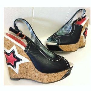 Beauty Heels   Rare Star Stitched Cork Wedges EUC